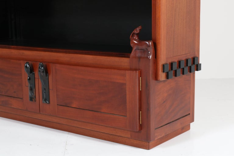 Dutch Art Deco Amsterdam School Mahogany Bookcase by Willem Raedecker, 1920s For Sale