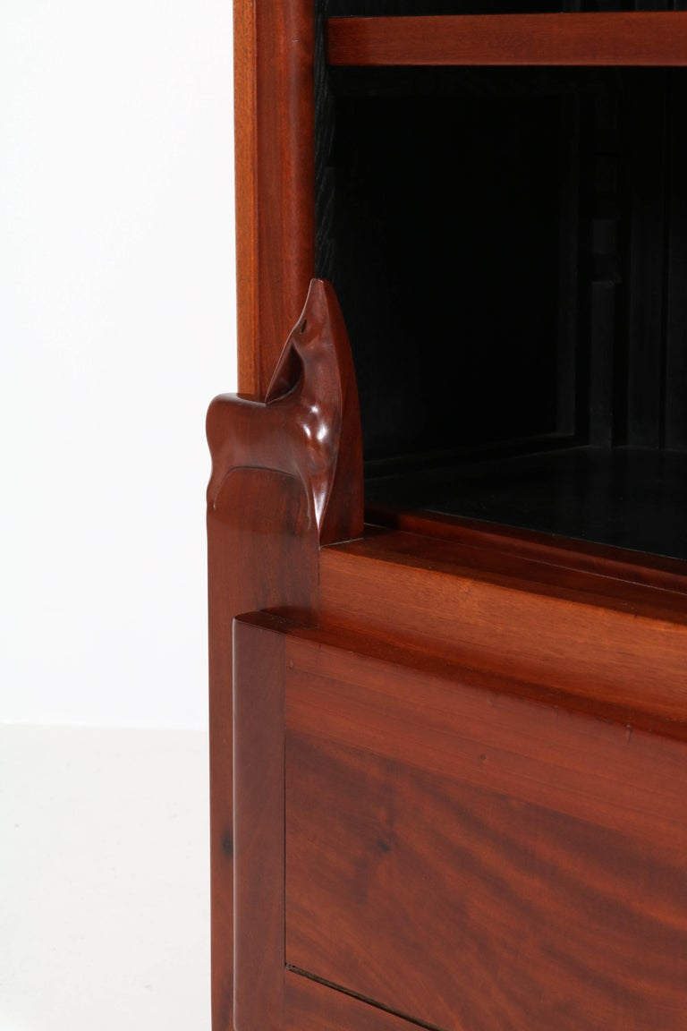 Macassar Art Deco Amsterdam School Mahogany Bookcase by Willem Raedecker, 1920s For Sale