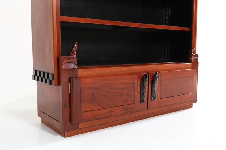 Art Deco Amsterdam School Mahogany Bookcase by Willem Raedecker, 1920s For Sale 2
