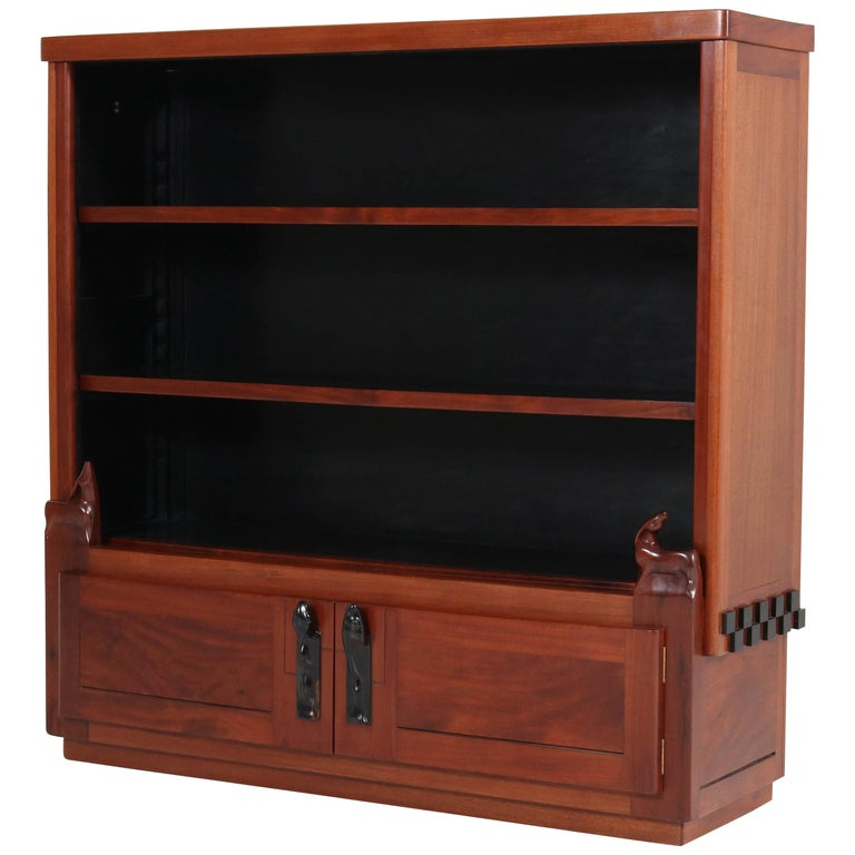 Art Deco Amsterdam School Mahogany Bookcase by Willem Raedecker, 1920s For Sale
