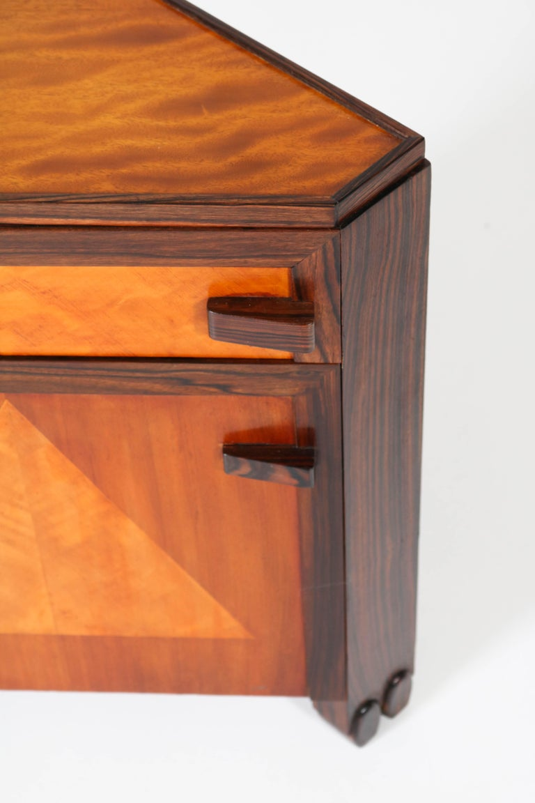 Art Deco Amsterdam School Nightstands by Max Coini, 1920s For Sale 4