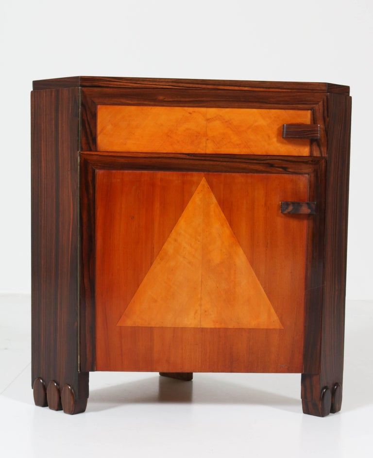 Art Deco Amsterdam School Nightstands by Max Coini, 1920s For Sale 5