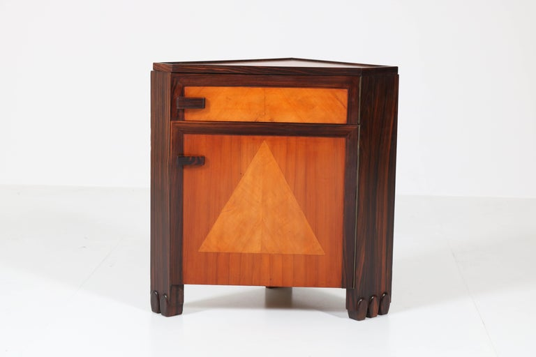 Art Deco Amsterdam School Nightstands by Max Coini, 1920s For Sale 6