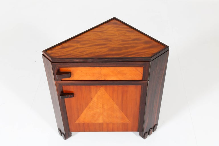 Art Deco Amsterdam School Nightstands by Max Coini, 1920s For Sale 7