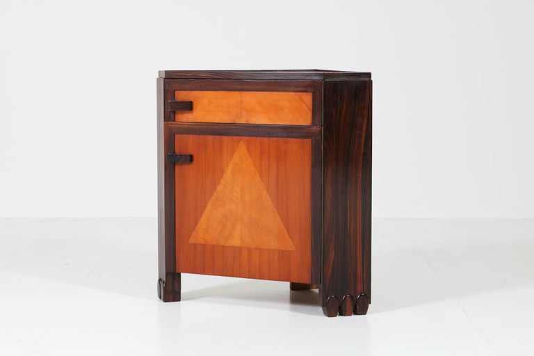 Art Deco Amsterdam School Nightstands by Max Coini, 1920s For Sale 8