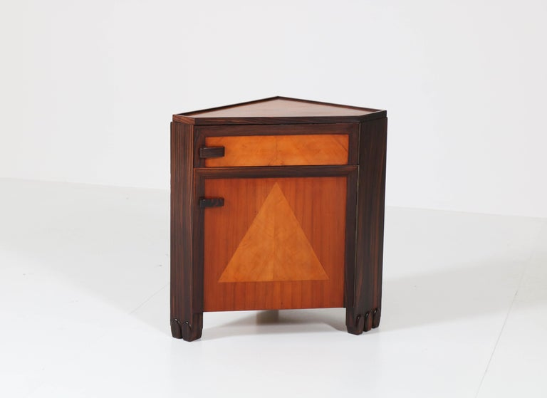 Art Deco Amsterdam School Nightstands by Max Coini, 1920s For Sale 9