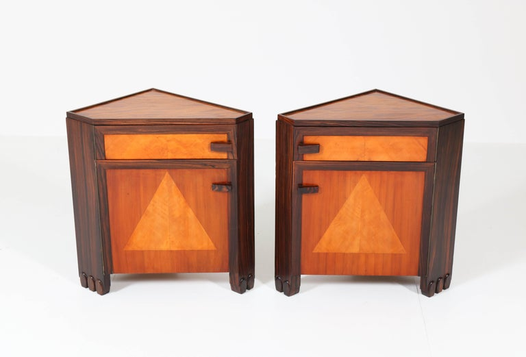 Art Deco Amsterdam School Nightstands by Max Coini, 1920s For Sale 11