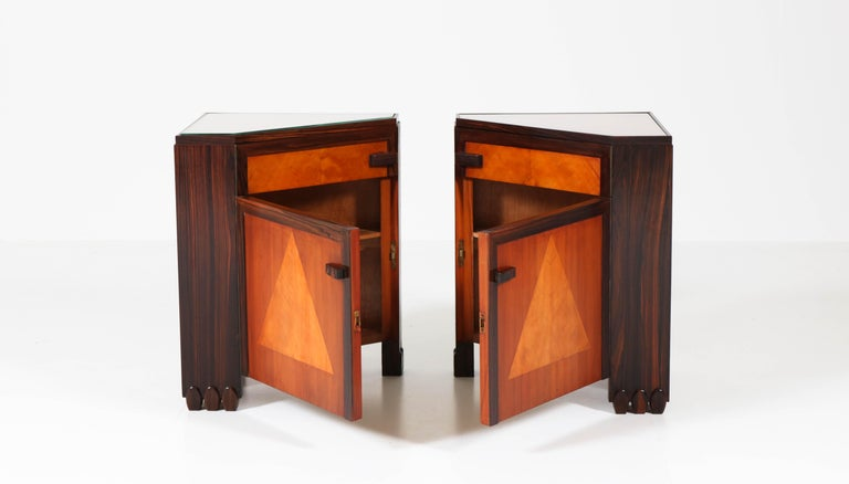 Dutch Art Deco Amsterdam School Nightstands by Max Coini, 1920s For Sale