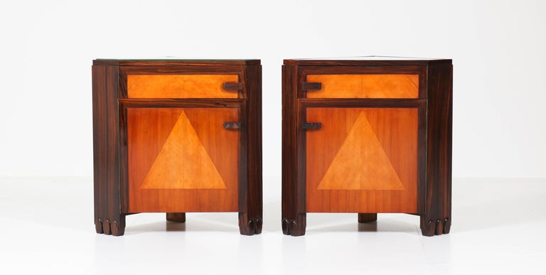 Art Deco Amsterdam School Nightstands by Max Coini, 1920s In Good Condition For Sale In Amsterdam, NL