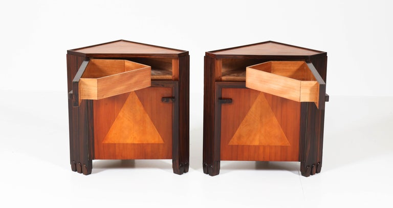 Early 20th Century Art Deco Amsterdam School Nightstands by Max Coini, 1920s For Sale