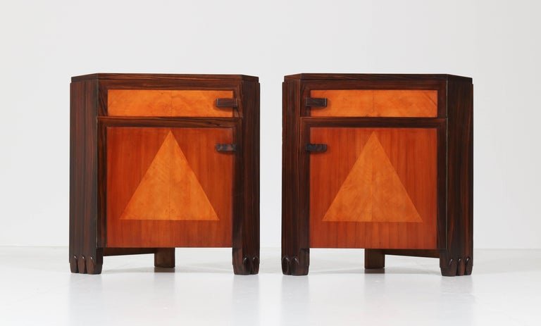 Macassar Art Deco Amsterdam School Nightstands by Max Coini, 1920s For Sale