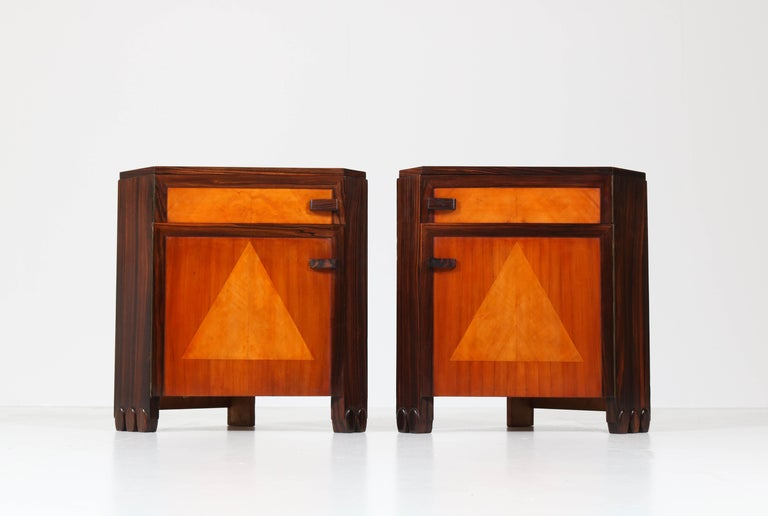 Art Deco Amsterdam School Nightstands by Max Coini, 1920s For Sale 1