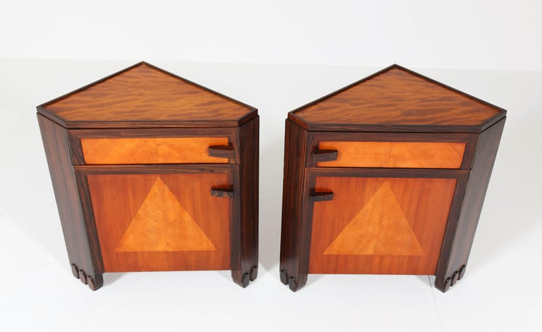 Art Deco Amsterdam School Nightstands by Max Coini, 1920s For Sale 2