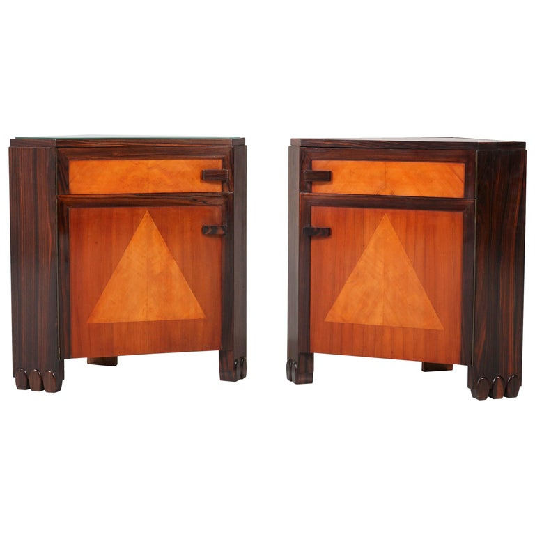 Art Deco Amsterdam School Nightstands by Max Coini, 1920s For Sale