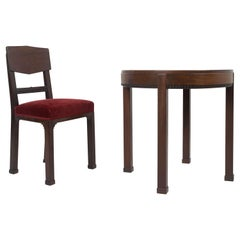 Art Deco, Amsterdam School, Set of Chair and Table in Mahogany, The Netherlands