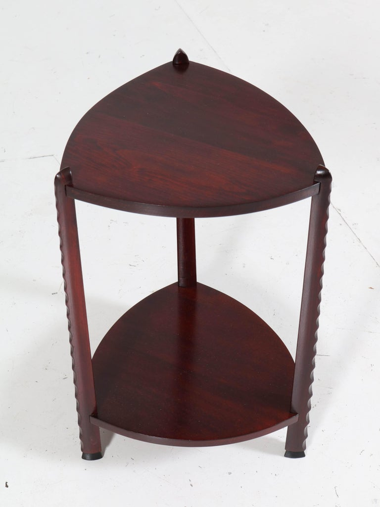 Dutch Art Deco Amsterdam School Stained Beech Side Table Attributed to Piet Kramer For Sale
