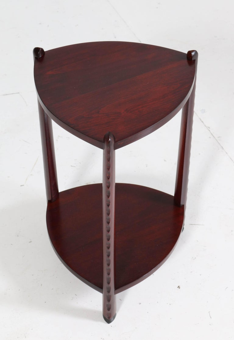 Art Deco Amsterdam School Stained Beech Side Table Attributed to Piet Kramer In Good Condition For Sale In Amsterdam, NL