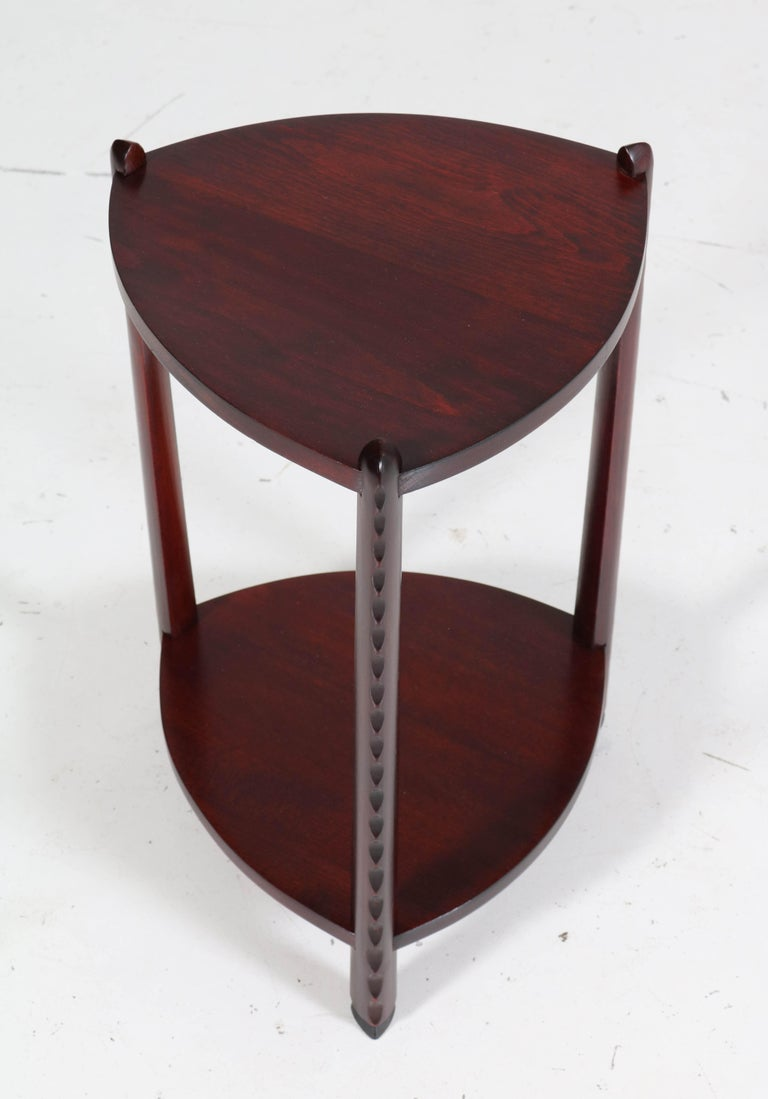 Art Deco Amsterdam School Stained Beech Side Table Attributed to Piet Kramer For Sale 2