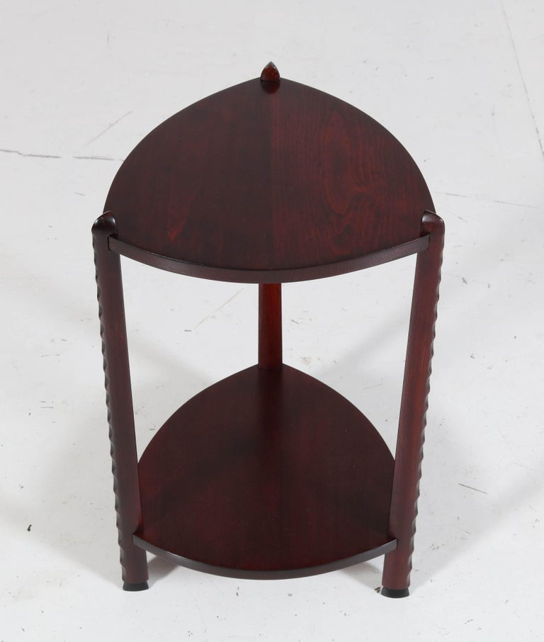 Art Deco Amsterdam School Stained Beech Side Table Attributed to Piet Kramer For Sale 3