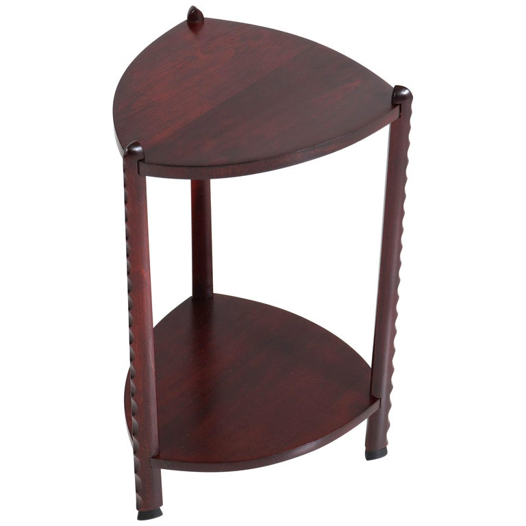 Art Deco Amsterdam School Stained Beech Side Table Attributed to Piet Kramer For Sale