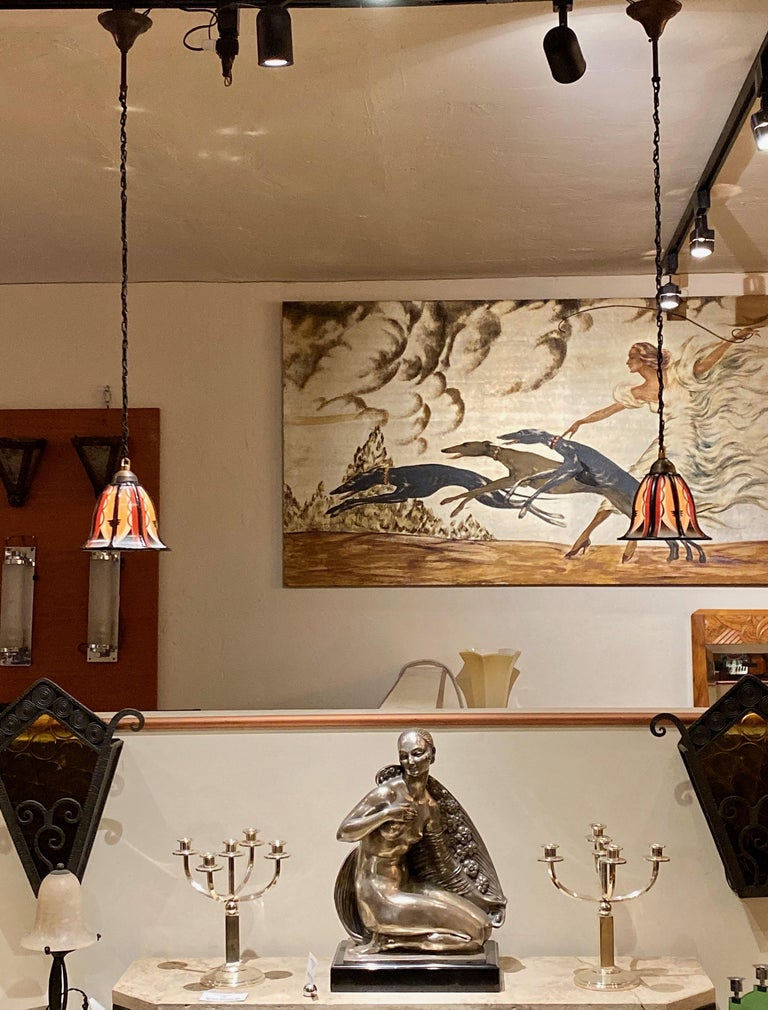 Dutch Art Deco Amsterdam School Stained Glass Hanging Lamps For Sale