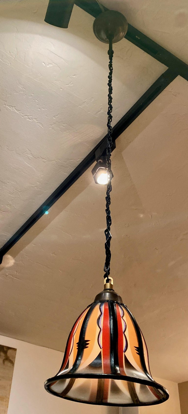 Art Deco Amsterdam School Stained Glass Hanging Lamps For Sale 1
