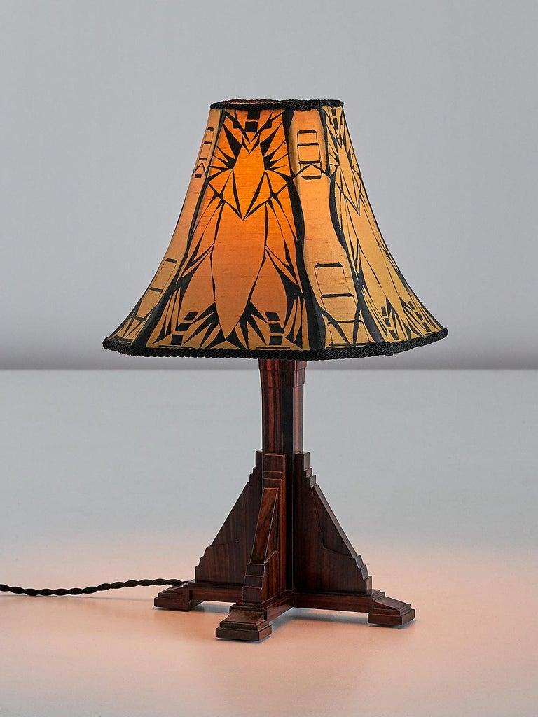 Dutch Art Deco Amsterdam School Table Lamp in Macassar Ebony, Netherlands, 1930s For Sale