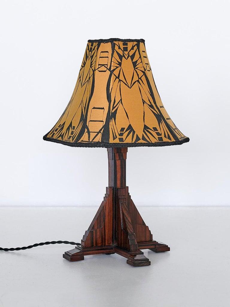 Veneer Art Deco Amsterdam School Table Lamp in Macassar Ebony, Netherlands, 1930s For Sale