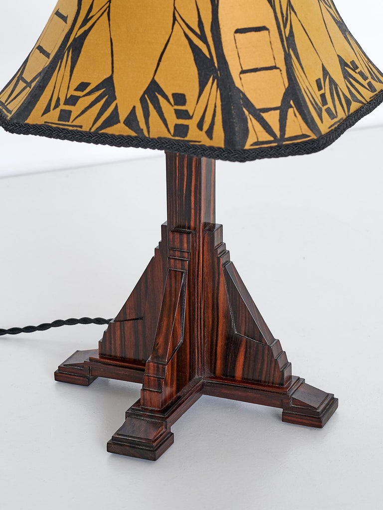 Art Deco Amsterdam School Table Lamp in Macassar Ebony, Netherlands, 1930s In Good Condition For Sale In The Hague, NL