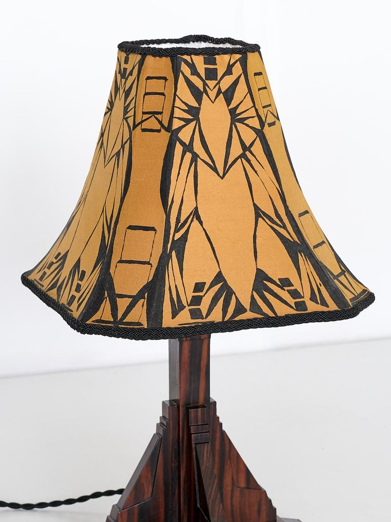 Mid-20th Century Art Deco Amsterdam School Table Lamp in Macassar Ebony, Netherlands, 1930s For Sale