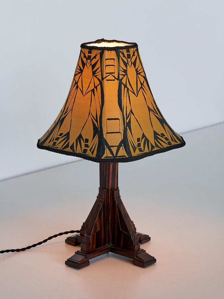 Fabric Art Deco Amsterdam School Table Lamp in Macassar Ebony, Netherlands, 1930s For Sale