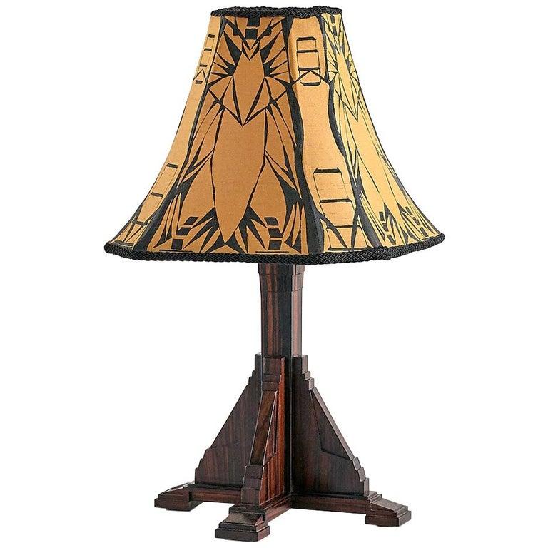 Art Deco Amsterdam School Table Lamp in Macassar Ebony, Netherlands, 1930s For Sale
