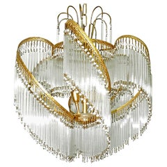 Art Deco and Art Nouveau Crystal Glass Fringe Hollywood Regency Gilt Chandelier