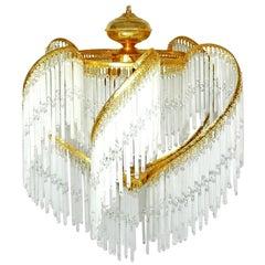 Art Deco and Art Nouveau Crystal Glass Fringe Hollywood Regency Gilt Chandelier