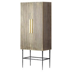 Art Deco and Brutalist Design Style Wooden and Gilded Metal Armoire