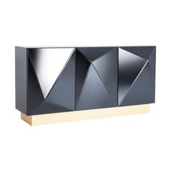 Brutalist Style Mirrored Sideboard