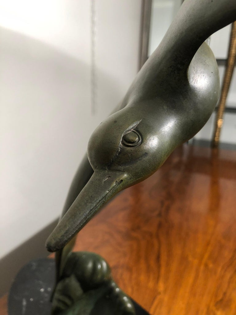 Art Deco Animal Bird Shaped Bronze Sculpture on Black Marble Base Signed Secondo For Sale 1