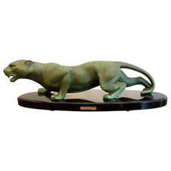 Art Deco Animal Bronze Sculpture Panther by Guy Debe on Black Oval Marble Base
