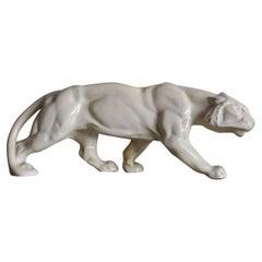 Art Deco Animalier Cream crackled Ceramic Panther Sculpture