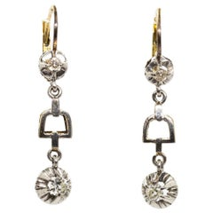 Art Deco Antique 18 Karat Gold and Platinum Diamonds Earrings