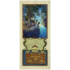 Art Deco Antique 1931 Maxfield Parrish Waterfall Full Edison Mazda Calendar