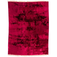 Art Deco Antique Chinese Wool Rug with Deep Pile in Red Burgundy