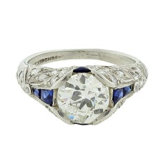 Art Deco Antique Diamond Blue Sapphire Platinum Engagement Ring