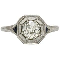Art Deco Antique Diamond Engagement Ring Sapphire 3-Stone Old European 0.86 Ct