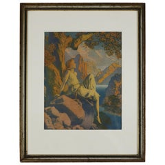 Art Deco Antique & Early Print 'Dawn' after Original by Maxfield Parrish, Framed