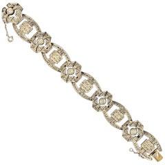 Art Deco Antique Old Cut Diamond Buckle Link Bracelet Silver Gold Portugal 1940s
