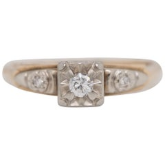 Art Deco Antique Old European Diamond Two-Tone Gold Filigree Ring