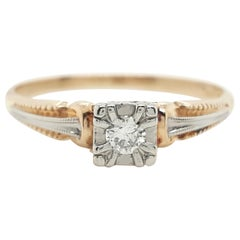 Art Deco Antique Old European Diamond Two-Tone Gold Filigree Solitaire Ring