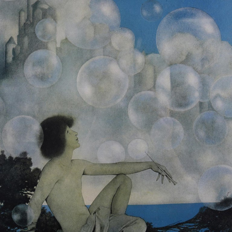 American Art Deco Antique Print 'Air Castles' after Original by Maxfield Parrish, Framed For Sale