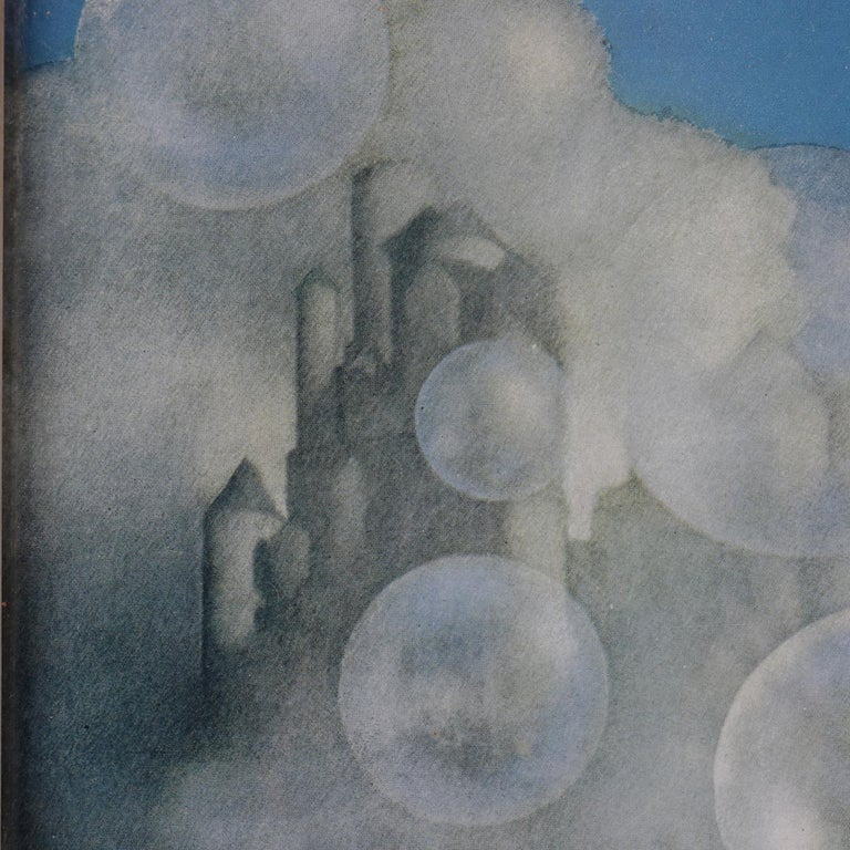 Gilt Art Deco Antique Print 'Air Castles' after Original by Maxfield Parrish, Framed For Sale